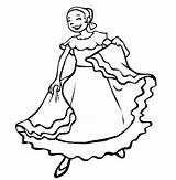 Mexican Coloring Dancing Pages Woman Fiesta Folk Dance Traditional Clipart Dancer Clip Clothing Dancers Sheets Cinco Mayo Dresses Cliparts Line sketch template