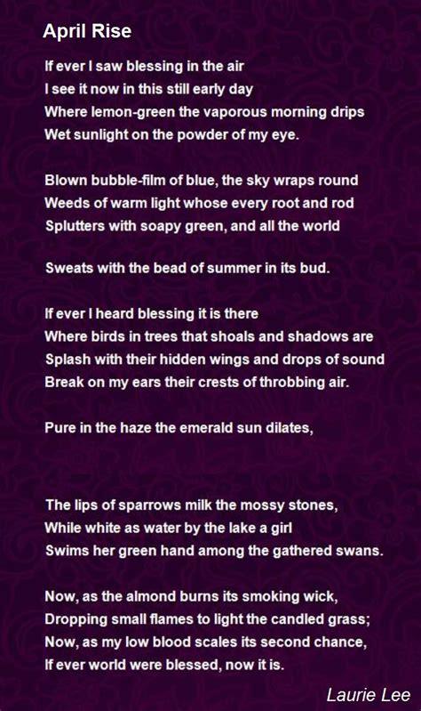 april rise poem  laurie lee poem hunter