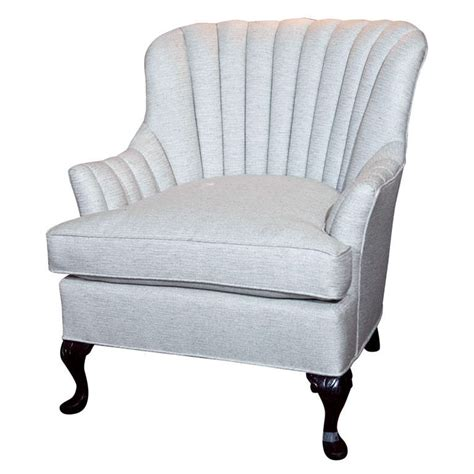 wing chair item number vintage channel back chair in grey linen at 1stdibs