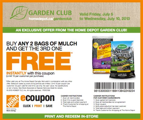 the home depot canada garden club coupons buy 2 bags of mulch get 3rd free reminder
