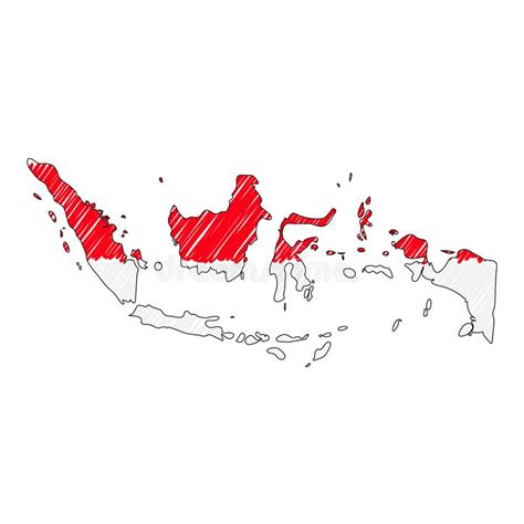 indonesia outline map vector illustration stock vector