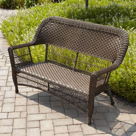 mainstays steel wicker loveseat honey brown patio