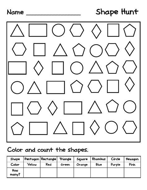 shape huntpdf shapes worksheets shapes worksheet