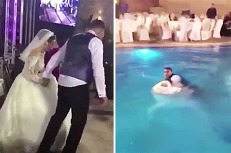Bride Almost Drowns When Wedding Dress Drags Her