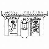 Theater Buidling Stamps Rubber sketch template