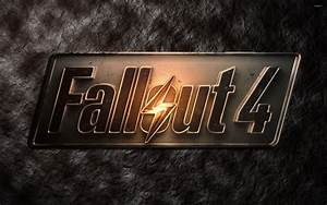 Metallic Fallout 4 logo on stone wallpaper - Game ...
