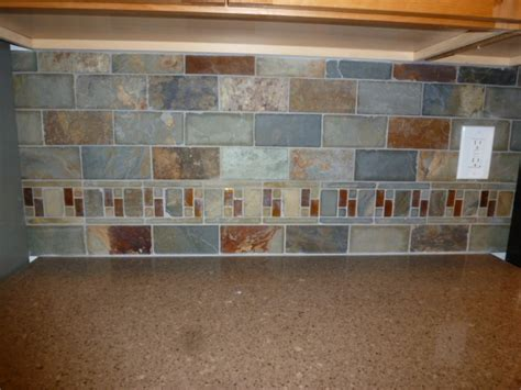 slate kitchen backsplash kitchen remodel slate tile backsplash with accents