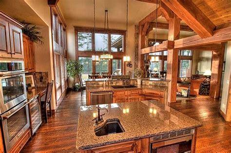 craftsman open floor plans rustic kitchen house plans home deco plans