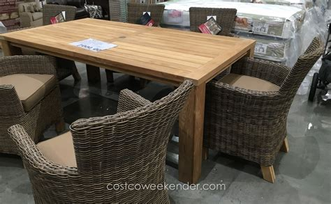 sunbrella 7 teak dining set costco weekender