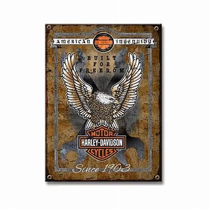 Harley Davidson Metal Sign Freedom Built Eagle