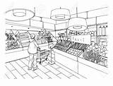 Supermarket Grocery Drawing Department Clipart Drawn Vegetable Illustration Vector Interior Hand Market Mall Drawings Super Premium Clipground Goods Concept sketch template