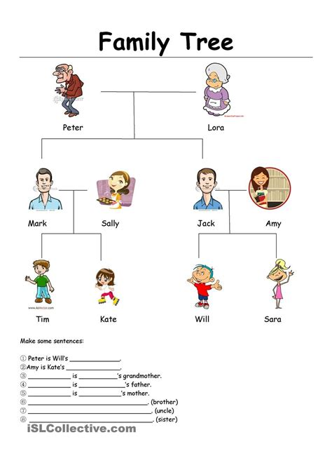 family tree free esl worksheets teaching and esl