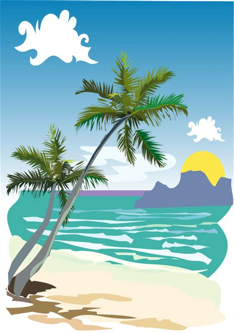 beach landscape vector ai svg eps vector