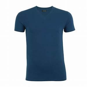 Tee Shirt Moulant Homme : tee shirt homme col v chic eminence coton stretch bleu ~ Dallasstarsshop.com Idées de Décoration