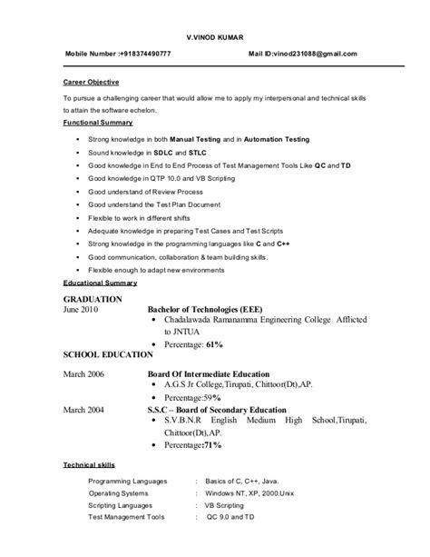 Objective In Resume For Software Testing Fresher by Fresher Testing Cv