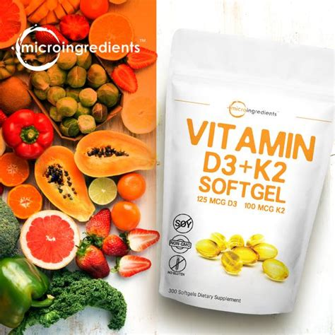 They support healthy bones and ligaments which promote normal joint function. Vitamin D3 and K2, 300 Liquid Softgels - Micro Ingredients