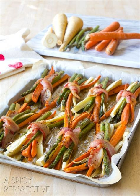 43 essential christmas dinner side dishes. Bacon Wrapped Roasted Vegetables with Maple Glaze. Made these for thanksgiving. DELICIOUS!