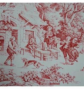 Japanese Rose Designs Toile De Jouy Fabric Red 100 Cotton Print Textiles