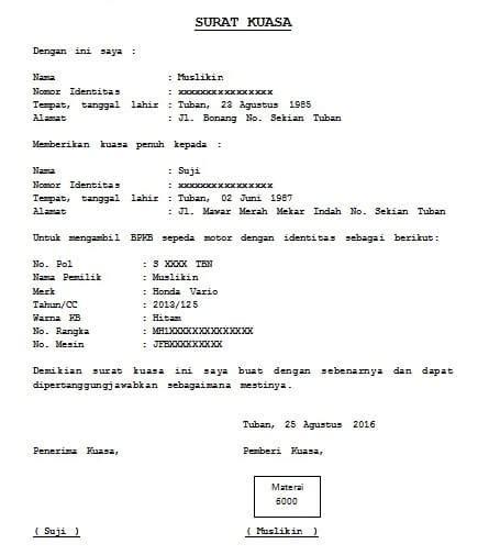 Berikut ini cuplikan tentang contoh surat kuasa pengambilan sertifikat pelaut terbaru untuk contoh surat kuasa dan contoh format administrasi surat menyurat lainnya. Contoh Surat Kuasa Untuk Pengambilan Bpkb