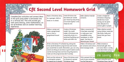 level christmas cfe homework grid literacy