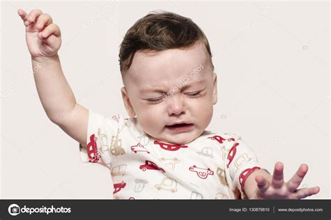 Cute Baby Boy Crying Raising His Hands Up Little Child In