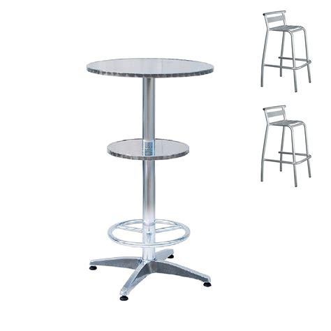 sgabelli con schienale set tavolo alto da bar rotondo in alluminio d 60 cm 2