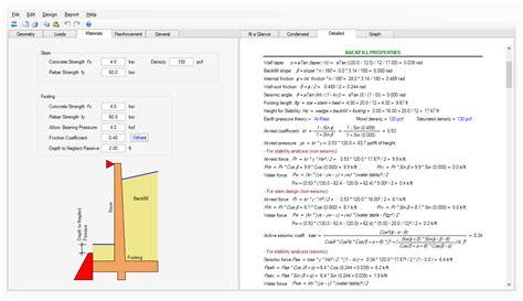 wall design software amusing 30 retaining wall design calculations design