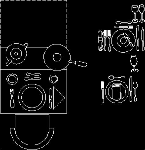 Dishes and cutlery in AutoCAD   Download CAD free (253.73