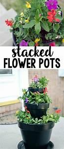 Diy, Stacked, Flower, Pots