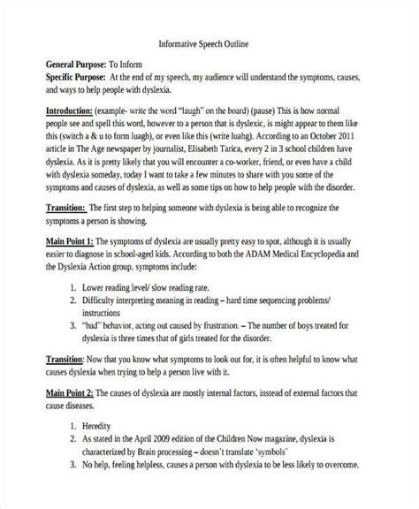 informative speech outline exles 10 informative speech exles sles pdf doc