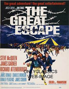 1963 The Great Escape Movie Poster Steve McQueen WWII ...