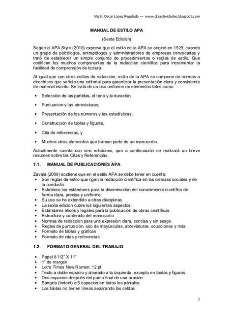 Normas Apa 2014 Para Resumen by Norma Apa Con Ejemplos