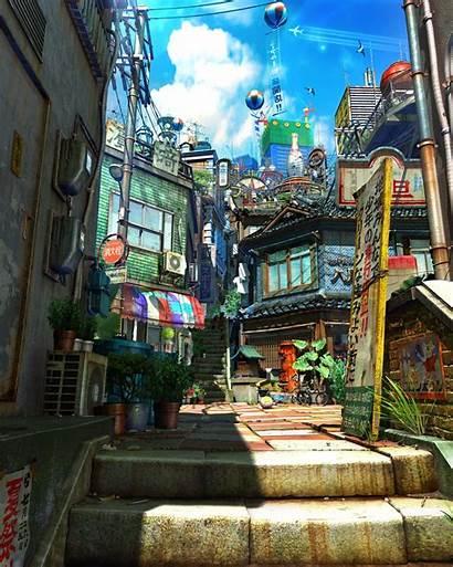 Artstation Town Anime Environment Fantasy Scenery Drawing