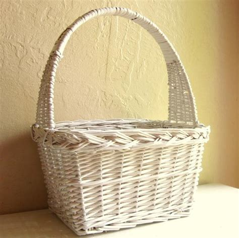 large classic white wicker basket  tall handle