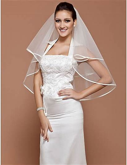 Veil Simple Elegant Ribbon Tulle Bridal Edge