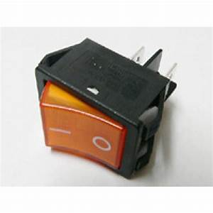 Rocker Switch Orange On  Off Dpst  With Lamp  16a 250vac
