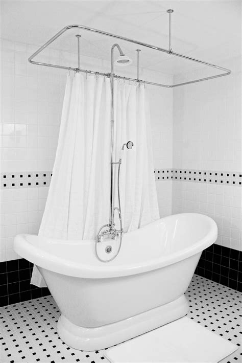 Tub In Shower - 73 quot slipper pedestal tub and shower