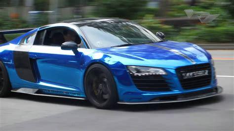 audi r8 chrome blue chrome blue r8 accelerates from stop light vrvbytes 8