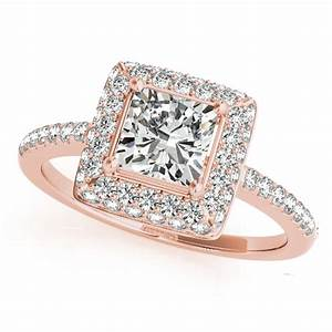 Cushion Cut Diamond Halo Engagement Ring 18k Rose Gold 2.00ct