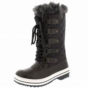 Womens Snow Boot Nylon Tall Winter Fur Lined Snow Warm ...