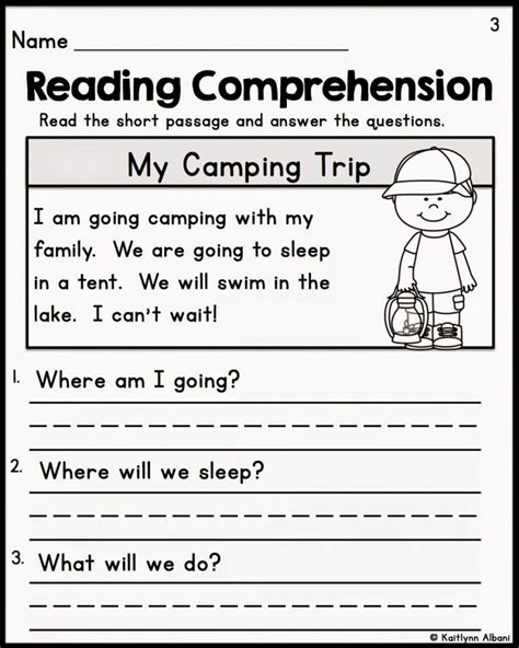 free printable reading comprehension worksheets for kindergarten year worksheet cou pdf and