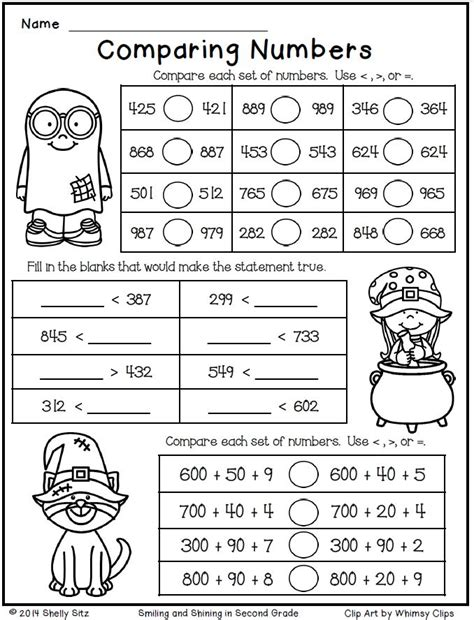 math for second grade comparing numbers free