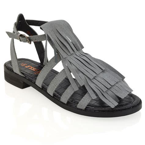 womens fringe sandals ladies tassel flat summer