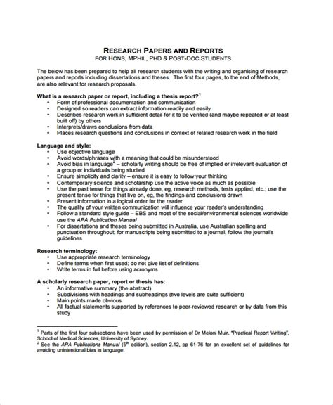 business professional report format