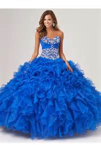 ruffle bridesmaid dress gown royal blue organza ruffle beaded corset quinceanera prom dress