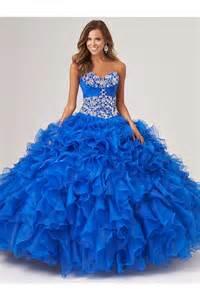 ruffle bridesmaid dress gown royal blue organza ruffle beaded corset quinceanera prom dress