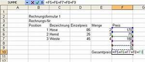 Excel Formeln Automatisch Berechnen : excel einfaches rechnungsformular online im s l z ~ Themetempest.com Abrechnung