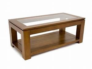 Table Basse Rectangulaire Bois : table de salon holly double plateau avec 1 panneau en verre meubles bois massif ~ Teatrodelosmanantiales.com Idées de Décoration