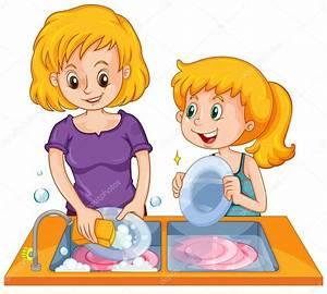 Niña ayudando a mamá lavar los platos Vector de stock © interactimages #101638718
