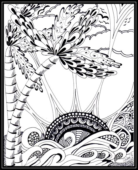 Tropical Zentangle Palm Trees Sun Water | Coloring pages ...